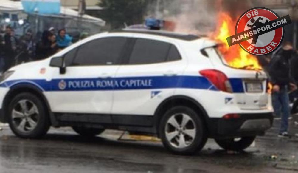Lazio - Atalanta maçı öncesi bir polis aracı ateşe verildi