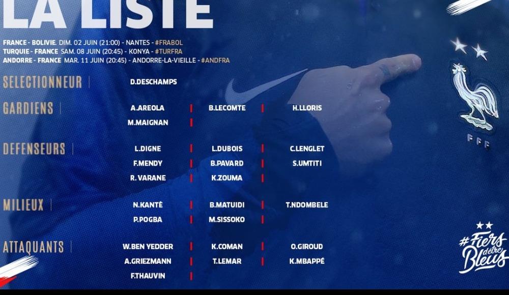 Fransa'nın Euro 2020 Elemeleri aday kadrosu açıklandı