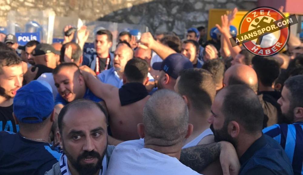 Hatayspor maçı sonrası polis ile Adana Demirspor arasında kavga çıktı