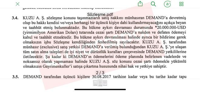 Kuzu Grup ile Atalay Demirbaş'ın sahibi olduğu Demand arasında imzalanan sözleşme.