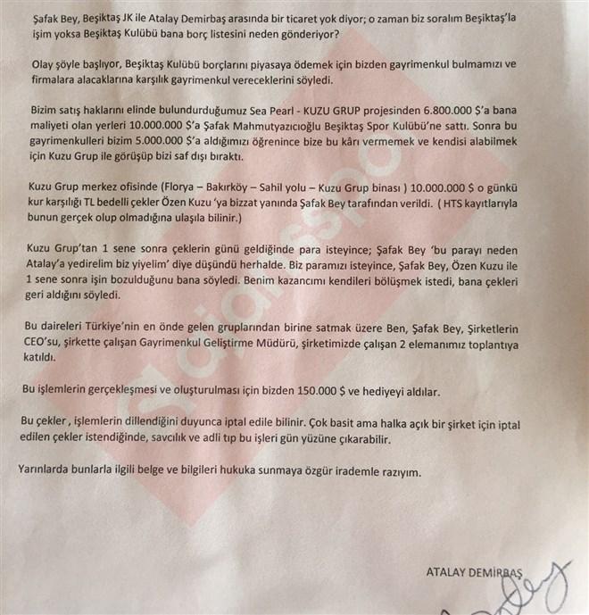 Atalay Demirbaş'ın imzalı ifadesi...