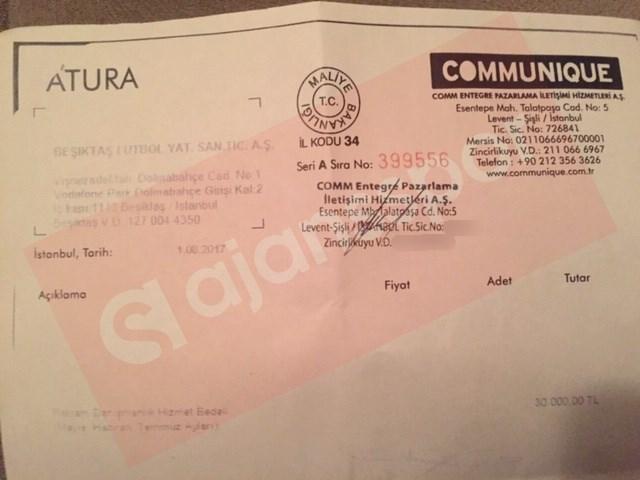 İşte başka bir fatura... Miktar yine 30 bin lira.