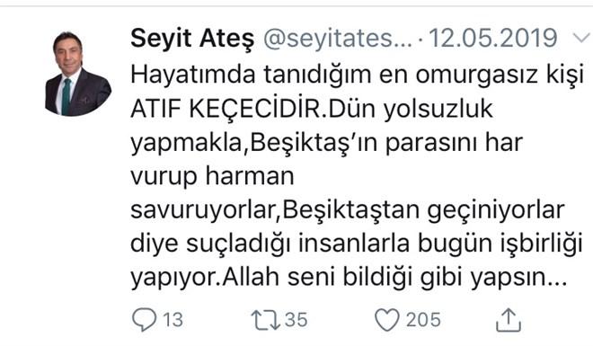 İşte Seyit Ateş'in, Atıf Keçeci için attığı twit.