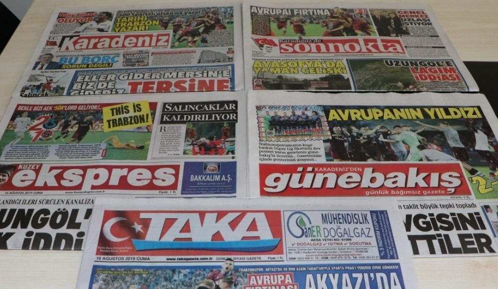 Trabzon yerel basınından Prag manşetleri!