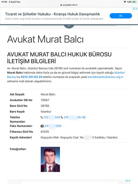 Murat Balcı'nın iş adresi