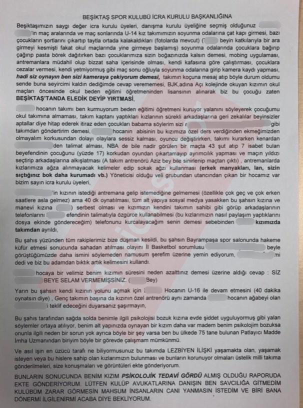 Beşiktaş icra kuruluna yazılan mektup