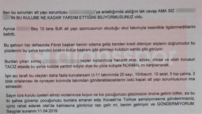 Beşiktaş icra kuruluna yazılan mektubun 2. sayfası