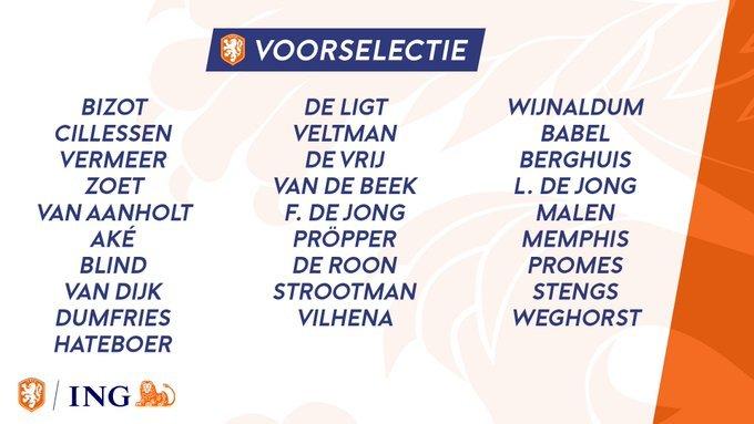 İşte Hollanda'nın kadrosu: