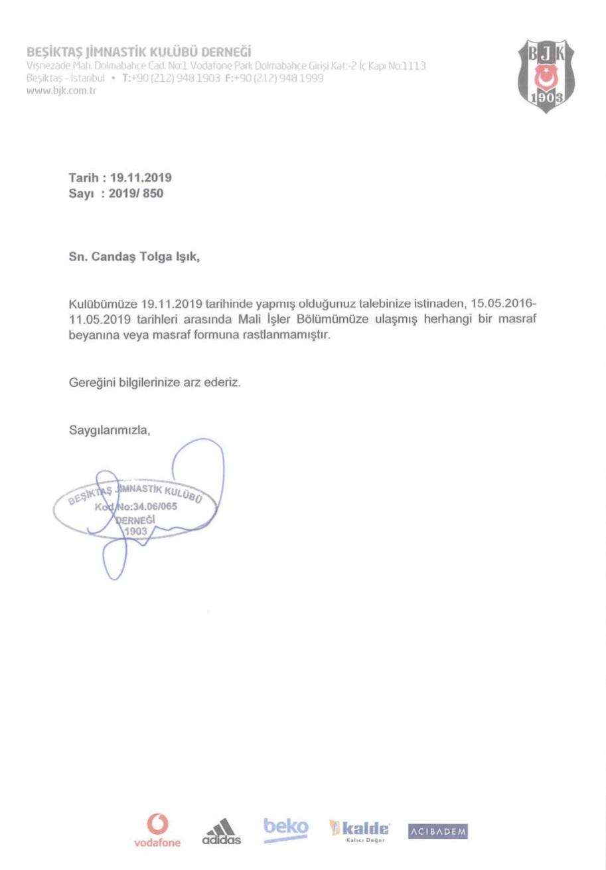 Candaş Tolga Işık'ın sosyal medya hesabı Twitter'da paylaştığı belge: