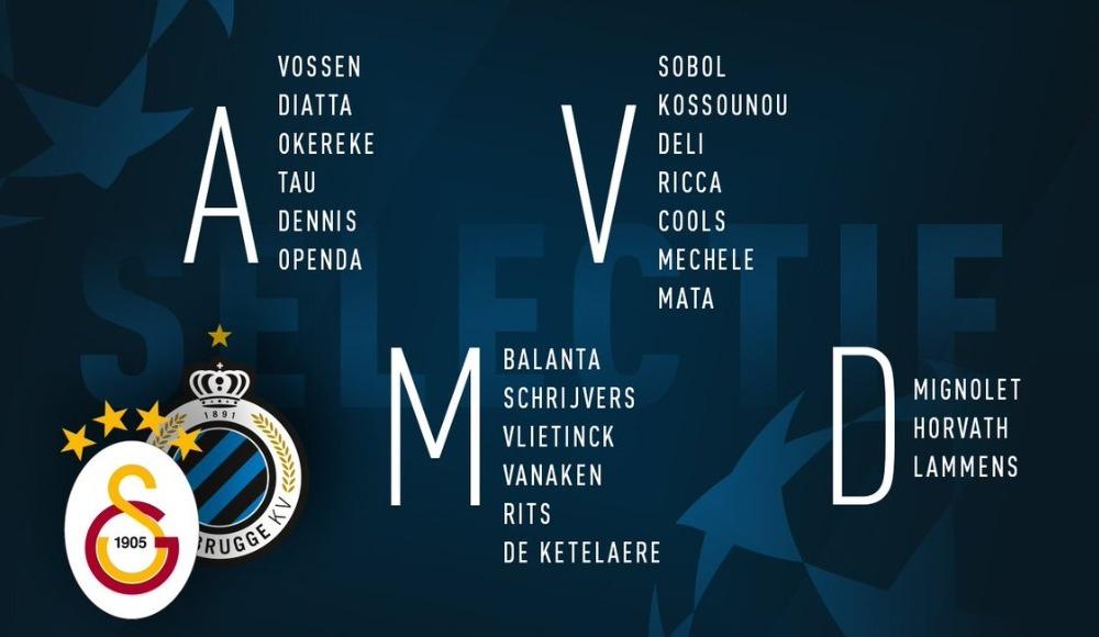 Club Brugge'ün Galatasaray maçı kafilesi belli oldu!