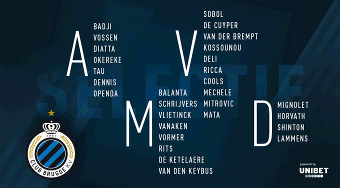 İşte Club Brugge'ün kamp kadrosu!