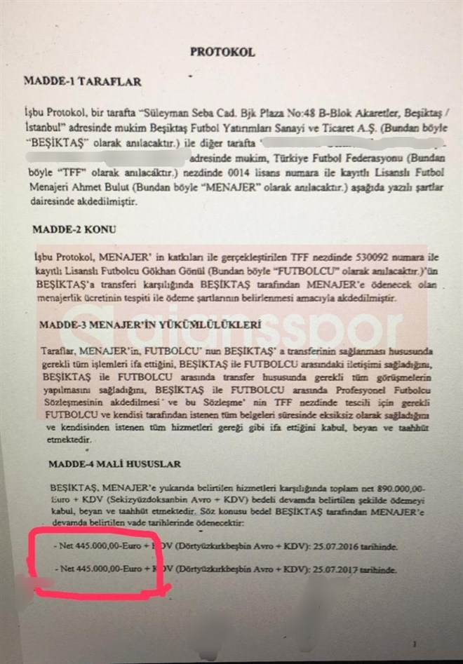 Gökhan Gönül'ün menajerlik sözleşmesi