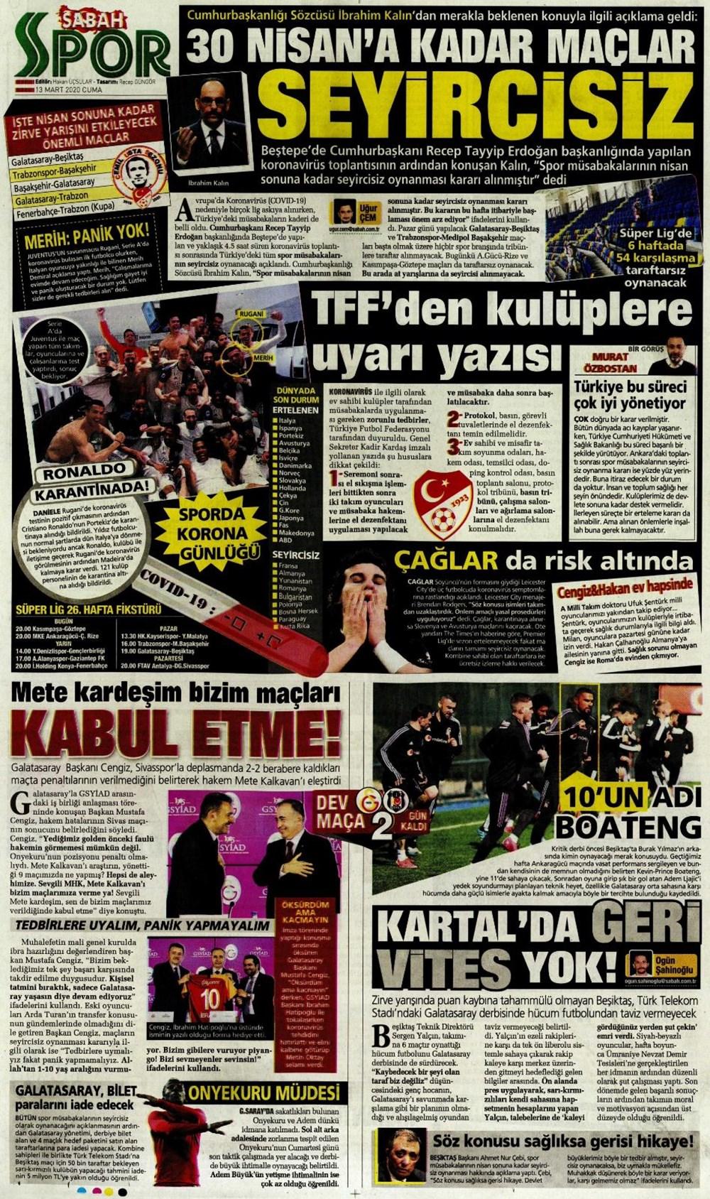 Spor manşetleri Fenerbahçe, Galatasaray, Beşiktaş, Trabzonspor