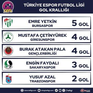 E-Spor TEF Ligi gol krallığı tablosu!