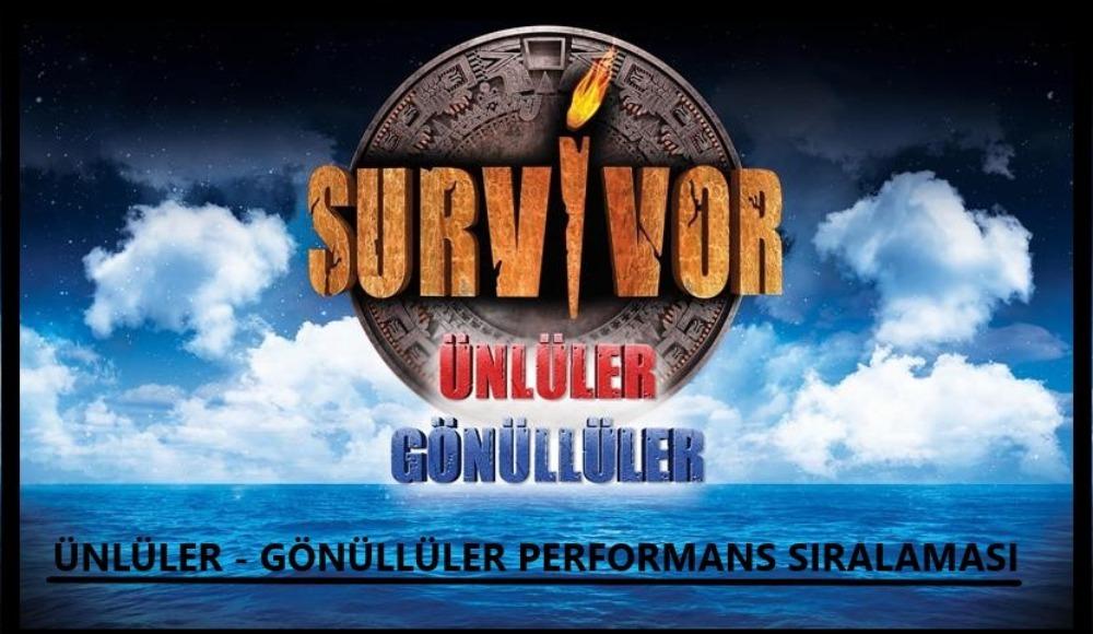 İşte Survivor Ünlüler - Gönüllüler performans sıralaması!