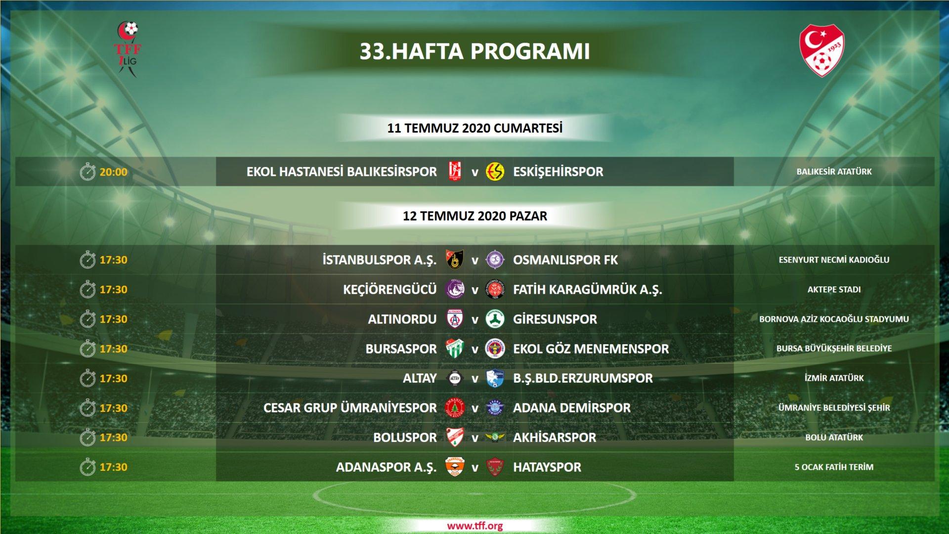 İşte program: