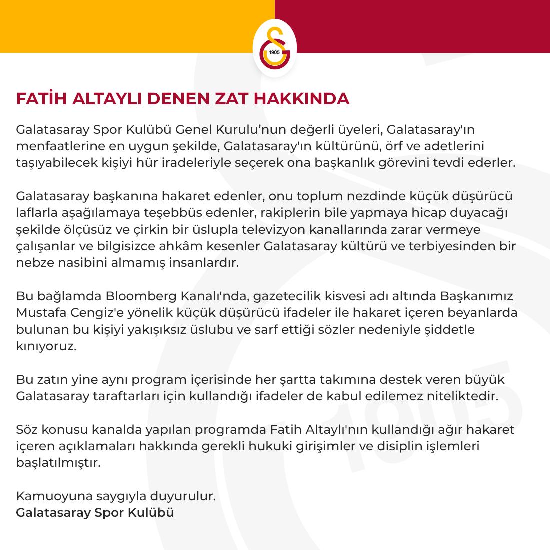 Galatasaray'ın paylaşımı