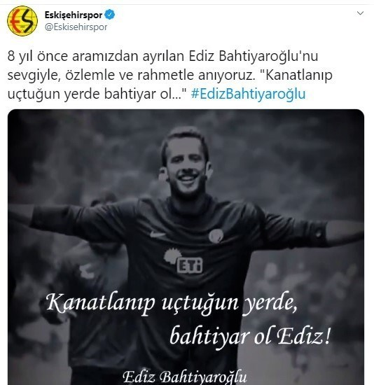 Eskişehirspor'dan Ediz Bahtiyaroğlu paylaşımı