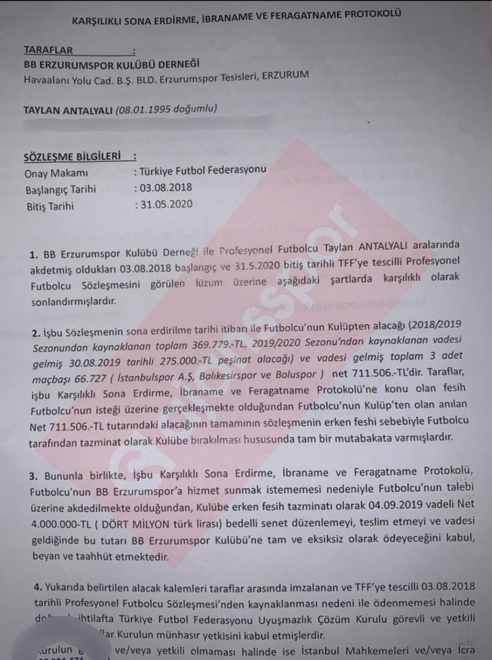 İşte, BB Erzurumspor ile Taylan Antalyalı arasında imzalanan protokol (1)