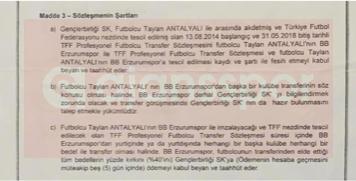 İşte, Gençlerbirliği ile BB Erzurumspor arasında imzalanan Taylan Antalyalı protokolü...