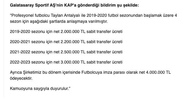 Galatasaray'ın KAP'a bildirdiği 4 milyon liralık imza parası ve yıllık ücretler!