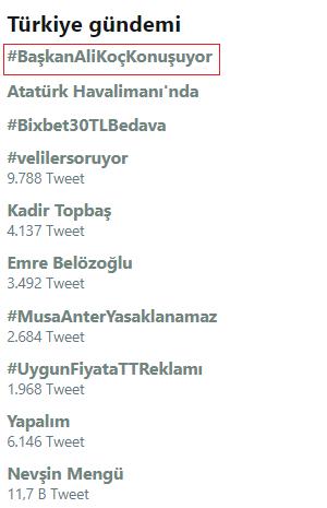 Ali Koç'un konuşması, Twitter'da da TT listesinde ilk sırada yer aldı.