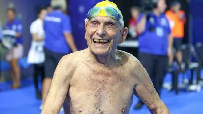 99 yaşındaki yüzücüden rekor bekleniyor