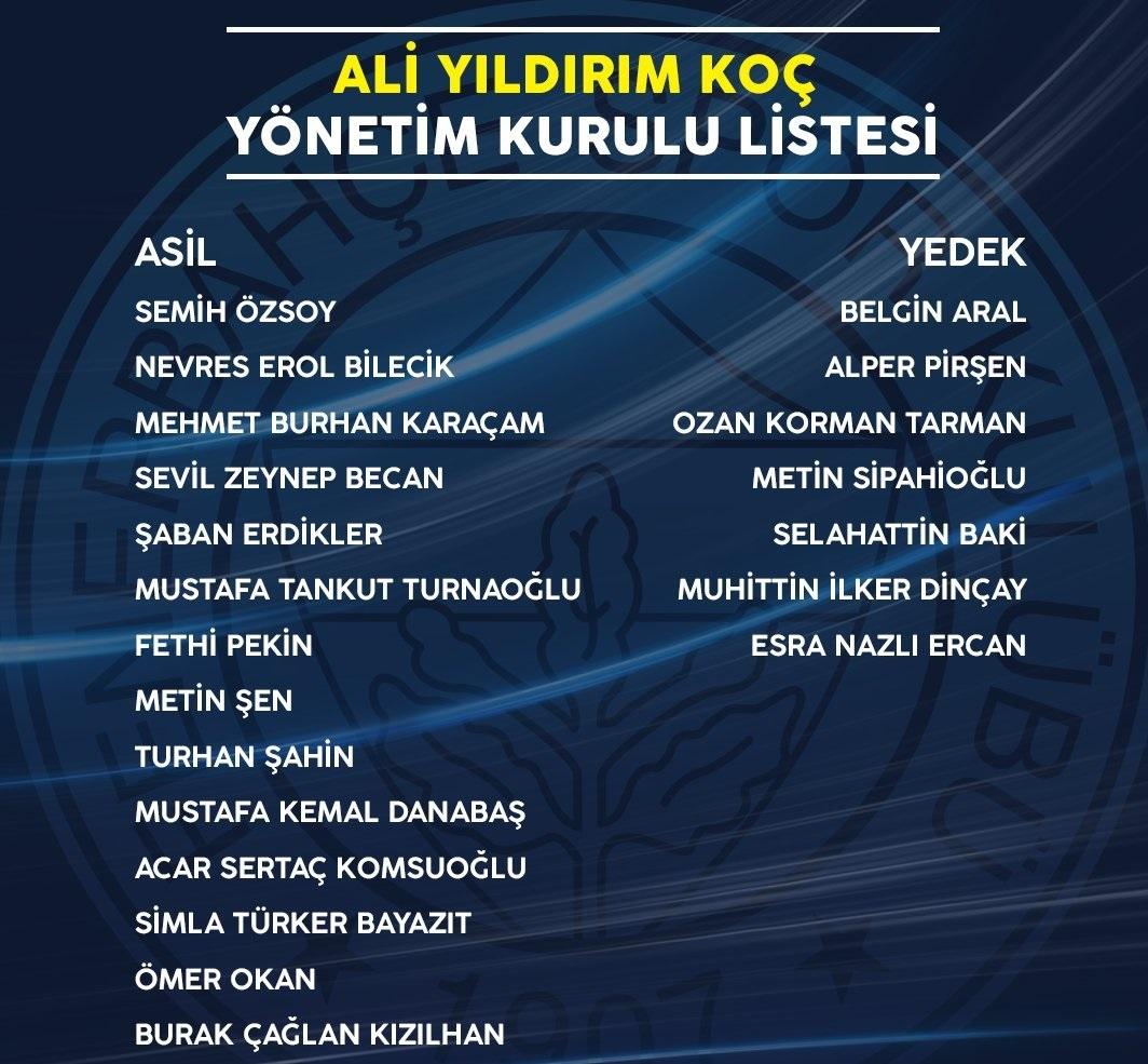 İşte Ali Koç'un yönetim kurulu listesi!