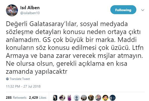 İşte Işıl Alben'in açıklaması:
