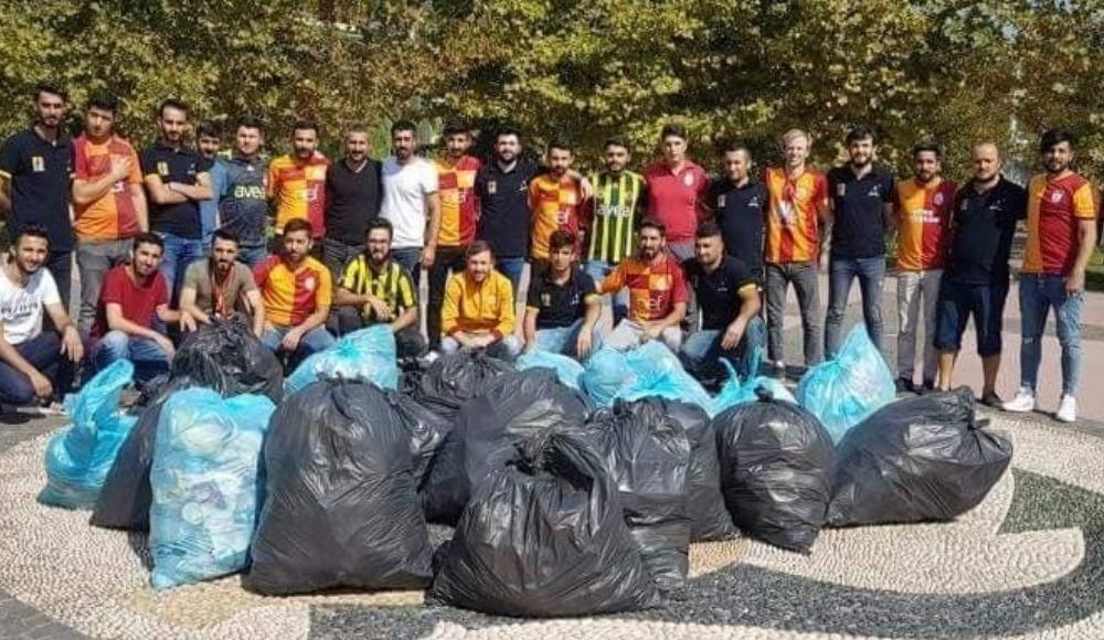 Fenerbahçe ve Galatasaray taraftarları, Dilovası sahilini temizledi