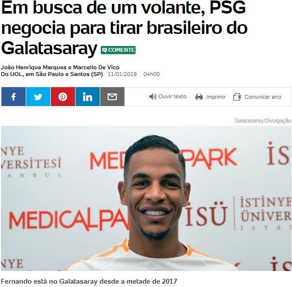 Brezilya basınındaki Fernando haberi!