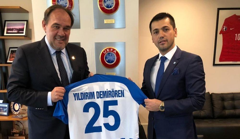 TFF Başkanı Demirören, BB Erzurumspor Başkanı Üneş ile bir araya geldi