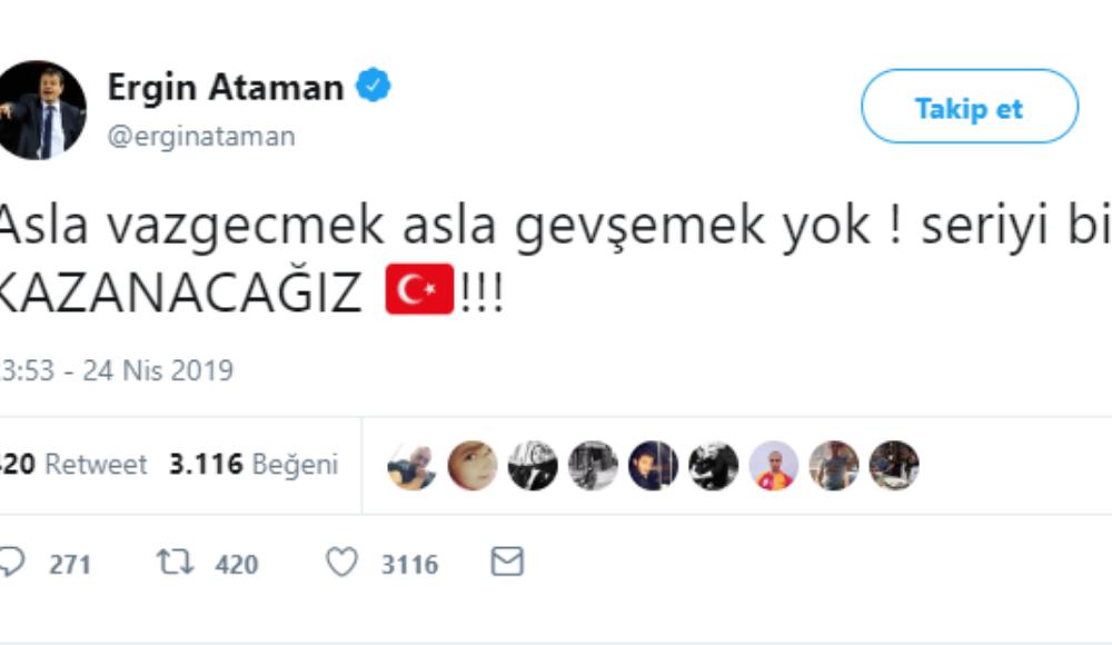 Ergin Ataman: ''Asla vazgeçmek asla gevşemek yok ! Seriyi biz kazanacağız!''